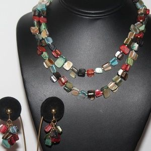 VTG DYED ABALONE HAND KNOTTED NECKLACE SET SU6